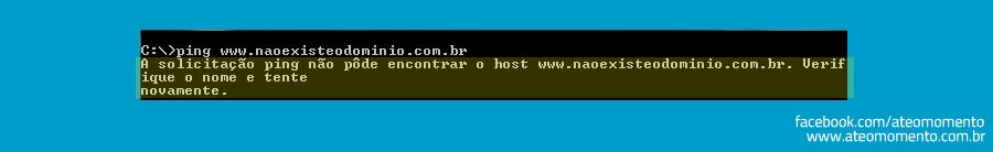 Diferença de Requisito Funcional e Regra de Negócio - Ping - Não Resolveu DNS